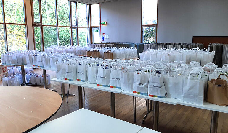 Food parcels packed up and ready to be delivered to self-isolating students