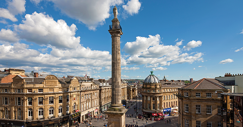 A photo of Newcastle city centre in summer